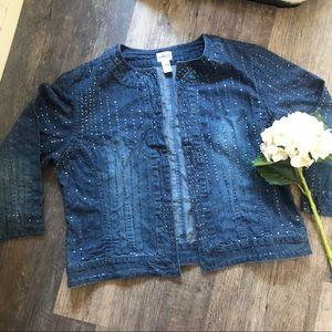 Chico's | Denim Sequined Open Front Jacket